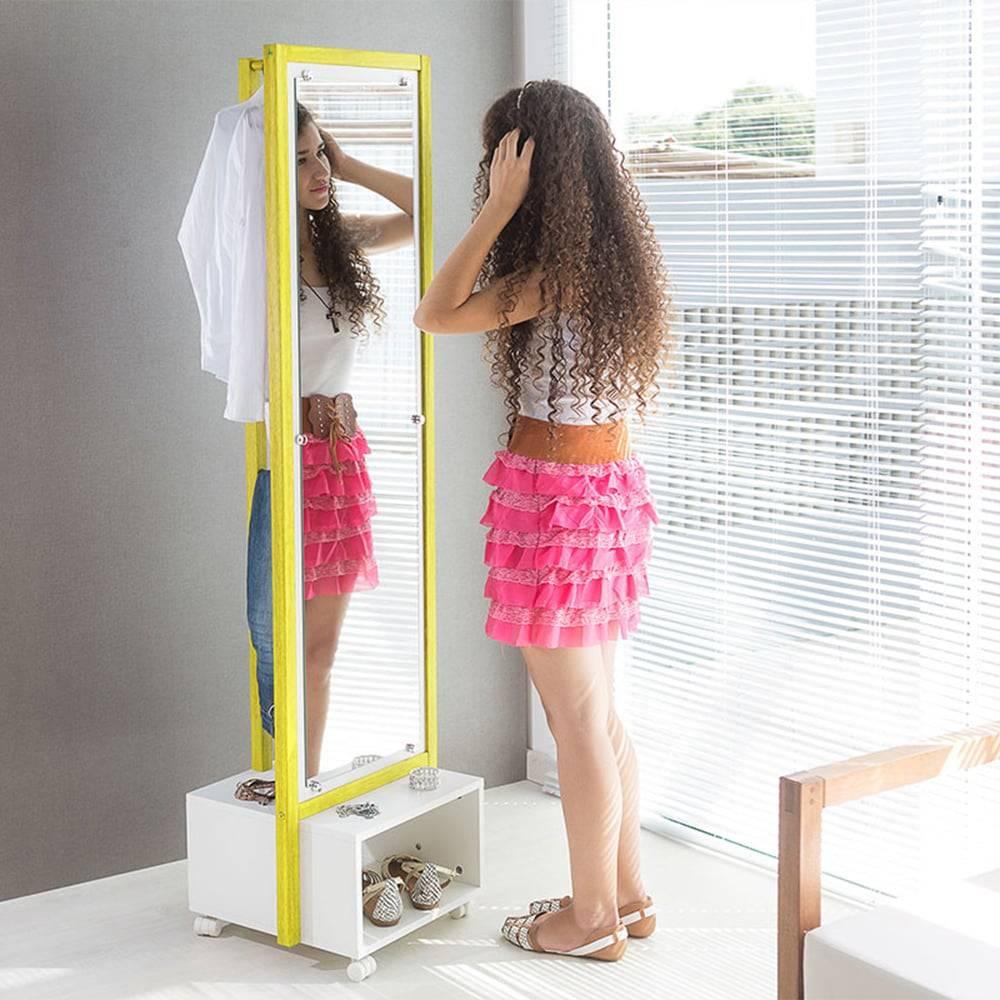 Arara Ammy com Toucador e Espelho em MDF Branco / Amarelo - 170x46 cm