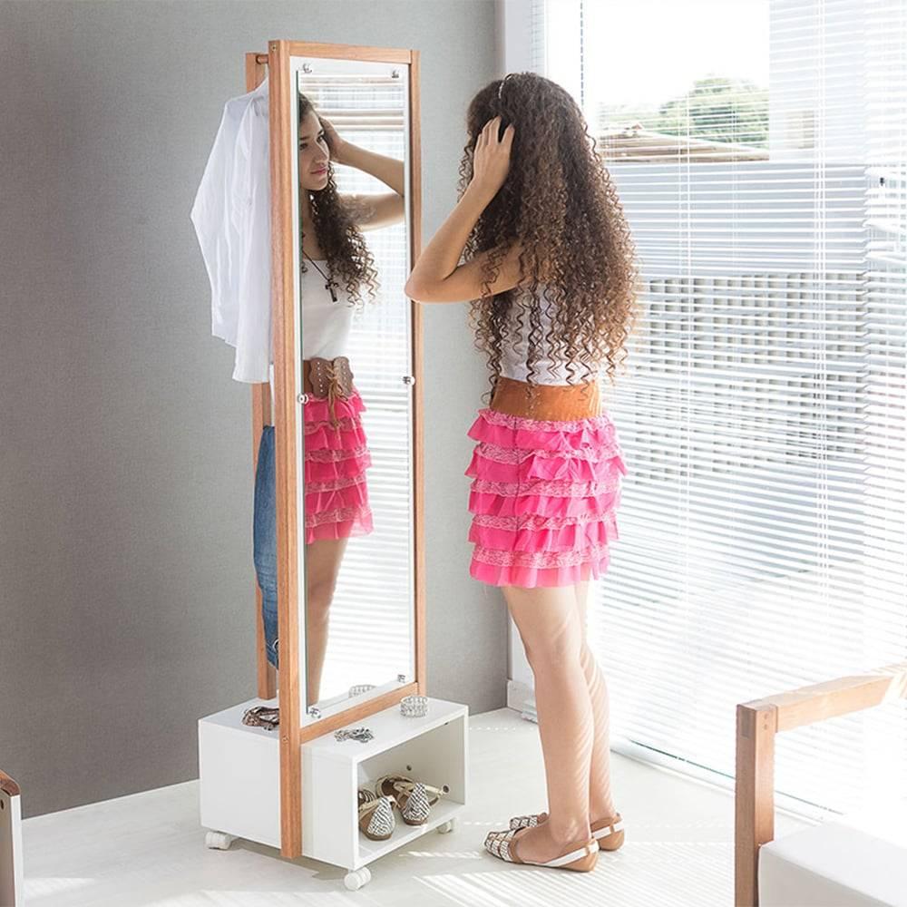 Arara Ammy com Toucador e Espelho em MDF Branco / Jatobá - 170x46 cm