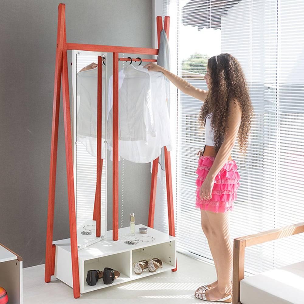 Arara Sue com Toucador e Espelho Giratório em MDF - Branco / Vermelho - 194x96 cm