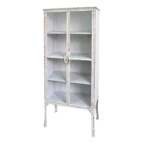 Armário Cristaleira Branca em Metal - 168x76 cm