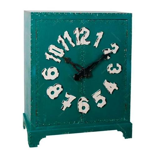 Armário Verde com Detalhe de Relógio - 2 Portas em Madeira - 113x96,5 cm