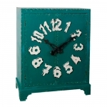Armário Verde com Detalhe de Relógio - 2 Portas em Madeira