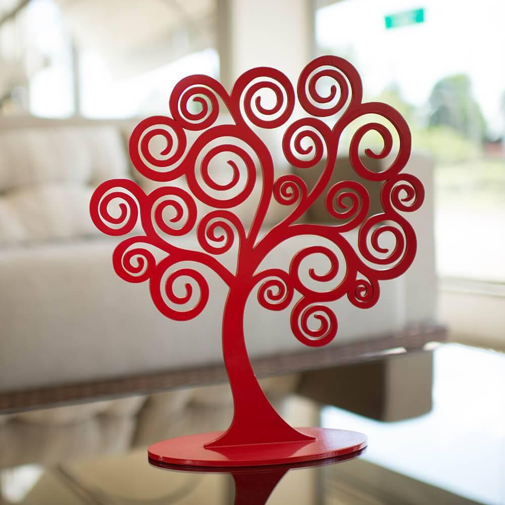 Árvore Decorativa dos Sonhos Vermelha Média em MDF - 34x30 cm