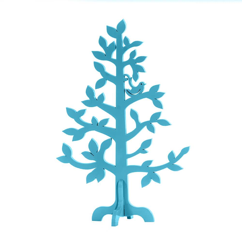 Árvore Decorativa Felicidade Azul em MDF - 33x23 cm