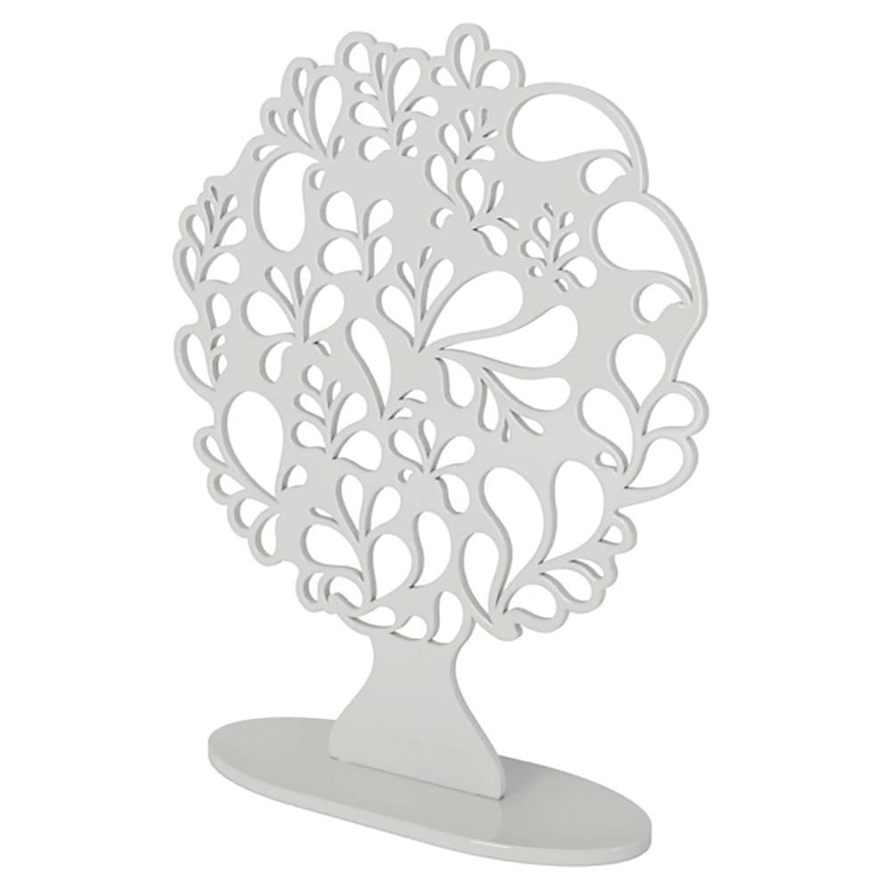 Árvore Decorativa Gotas Branca Grande em MDF - 44x35 cm