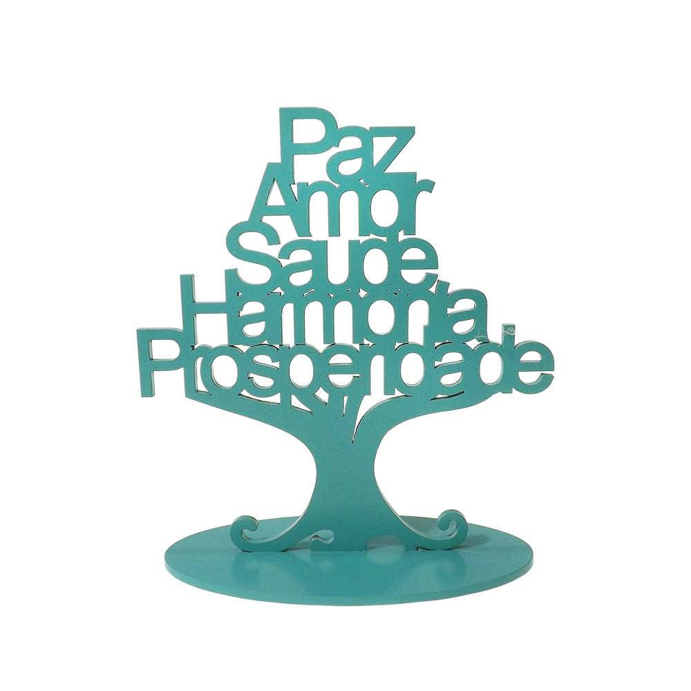 Árvore Decorativa Prosperidade Tiffany em MDF - 30x24 cm