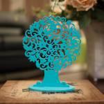 Árvore Decorativa Redonda Aquamarine Pequena em MDF - 24x18 cm