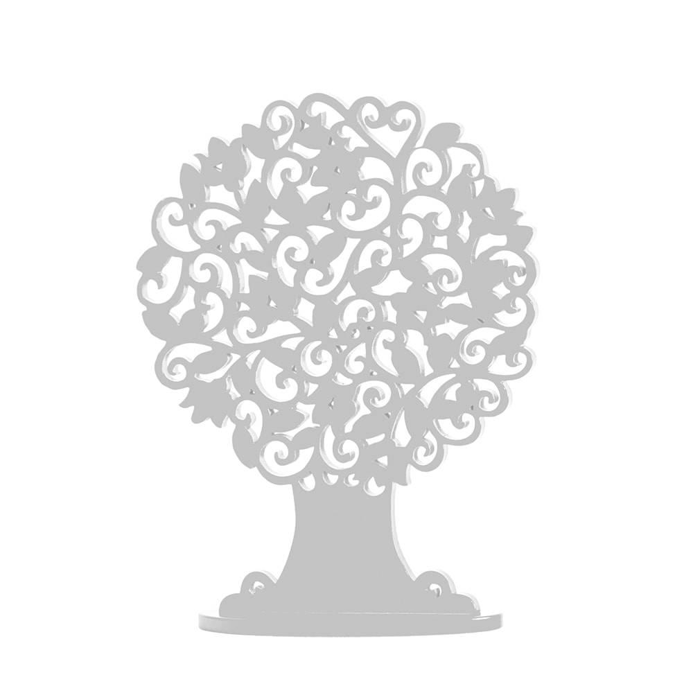 Árvore Decorativa Redonda Branca Pequena em MDF - 24x18 cm