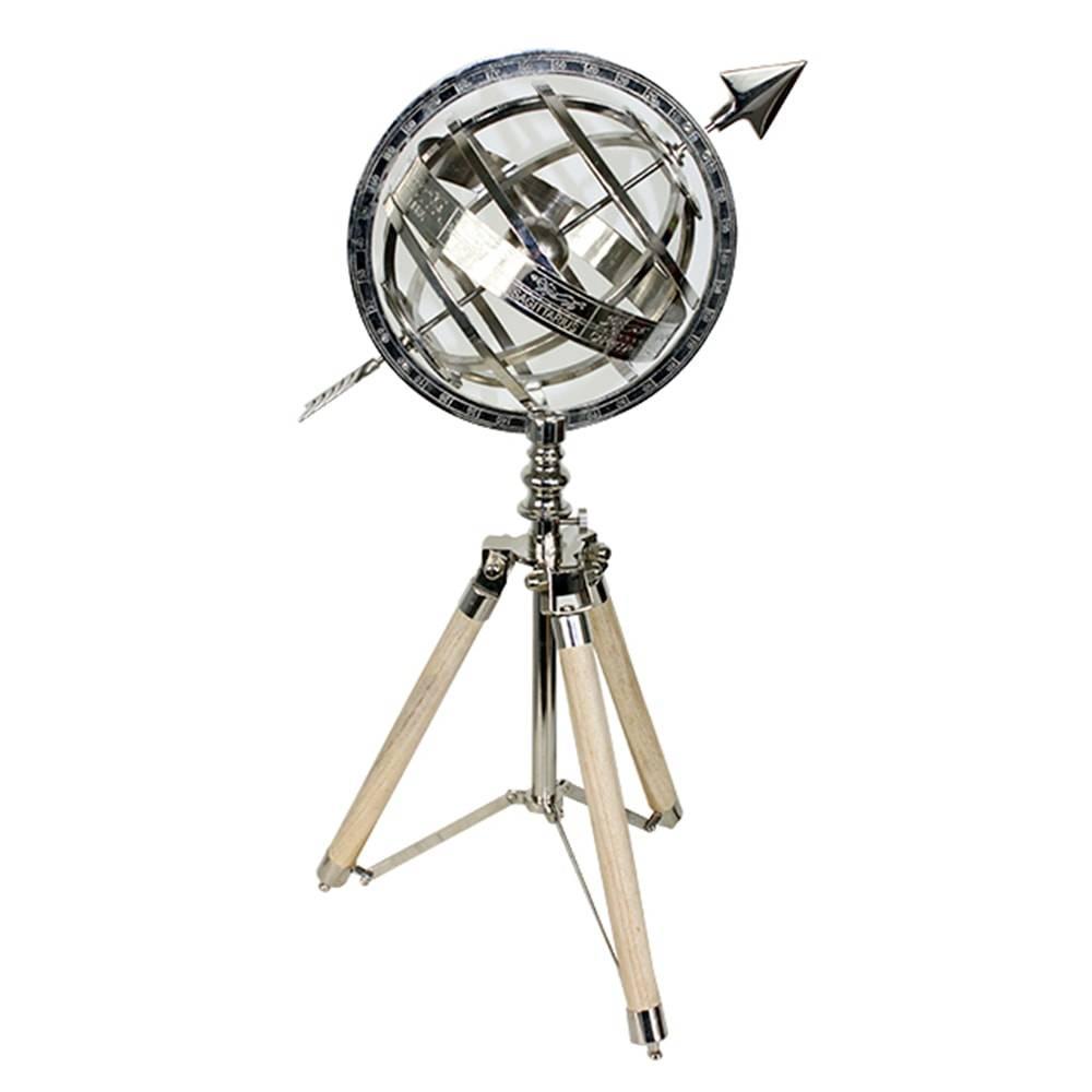 Astrolábio Decorativo c/ Tripé em Metal e Madeira Oldway - 40x21 cm