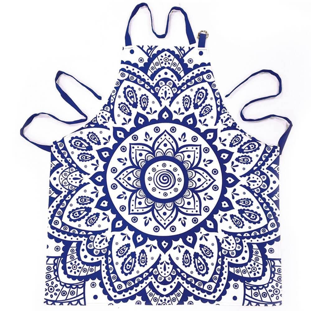 Avental Indigo Hanna Flower Azul em Algodão - Urban - 80x70 cm