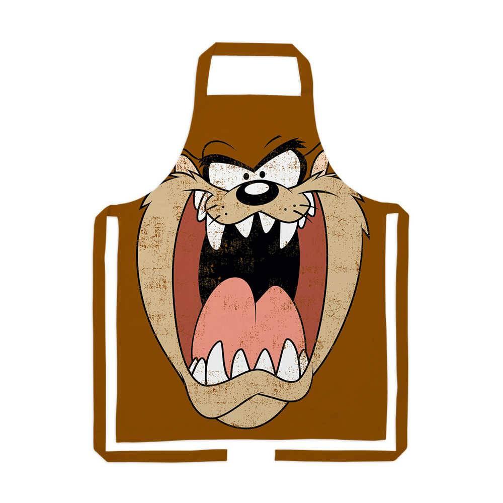 Avental Looney Tunes Taz Big Face Fundo Marrom em Algodão - 72x70 cm