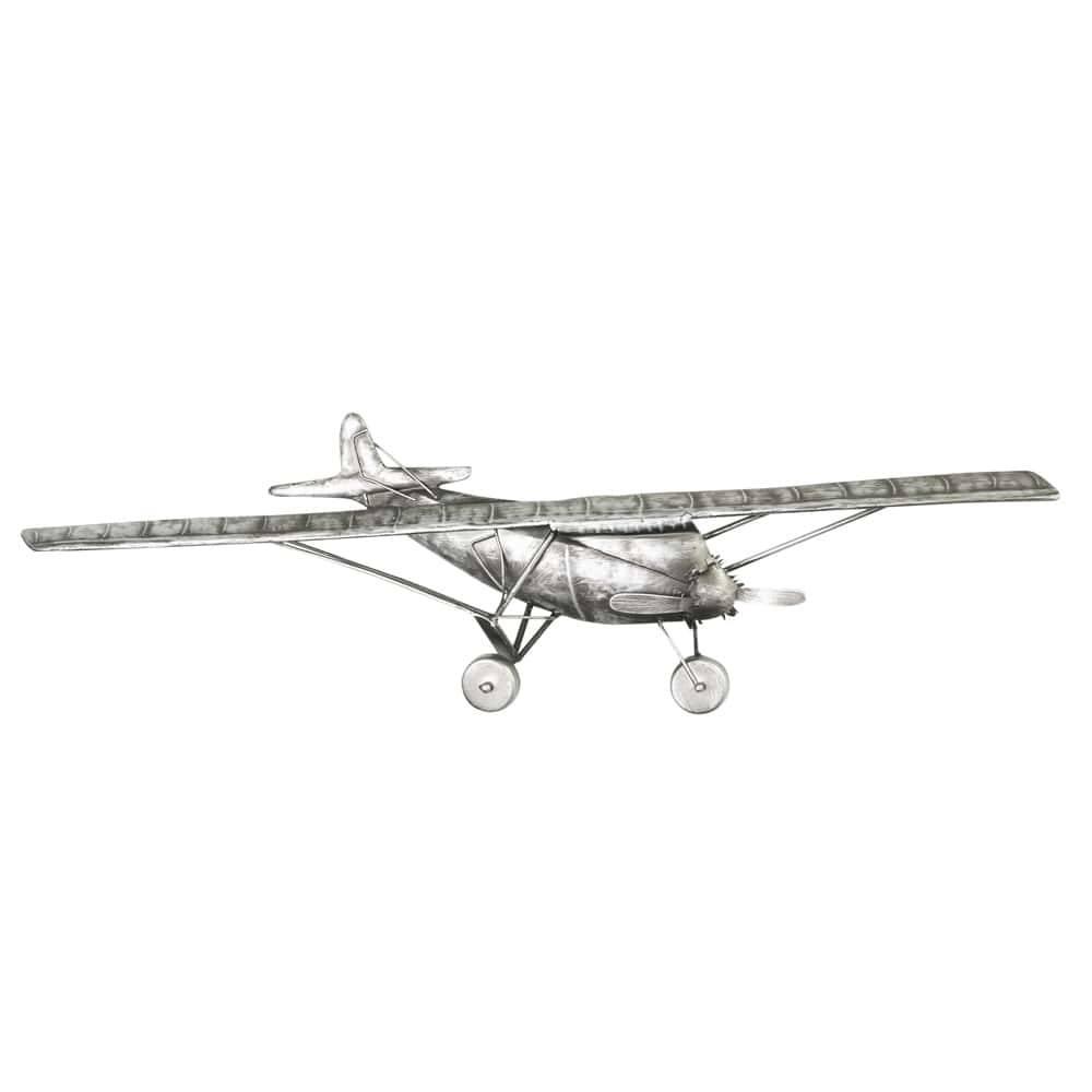 Avião Prateado de Parede em Metal - Lyor Classic - 58 cm
