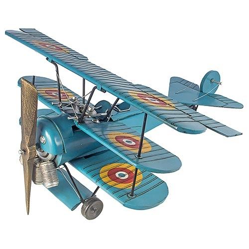 Avião Três Asas Miniatura Azul Oldway - 33x82 cm