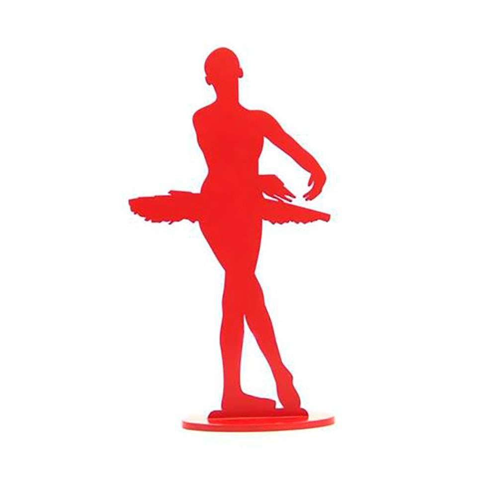 Bailarina Passo Ecarté Devant Vermelha em MDF Laqueado - Médio - 28x14 cm
