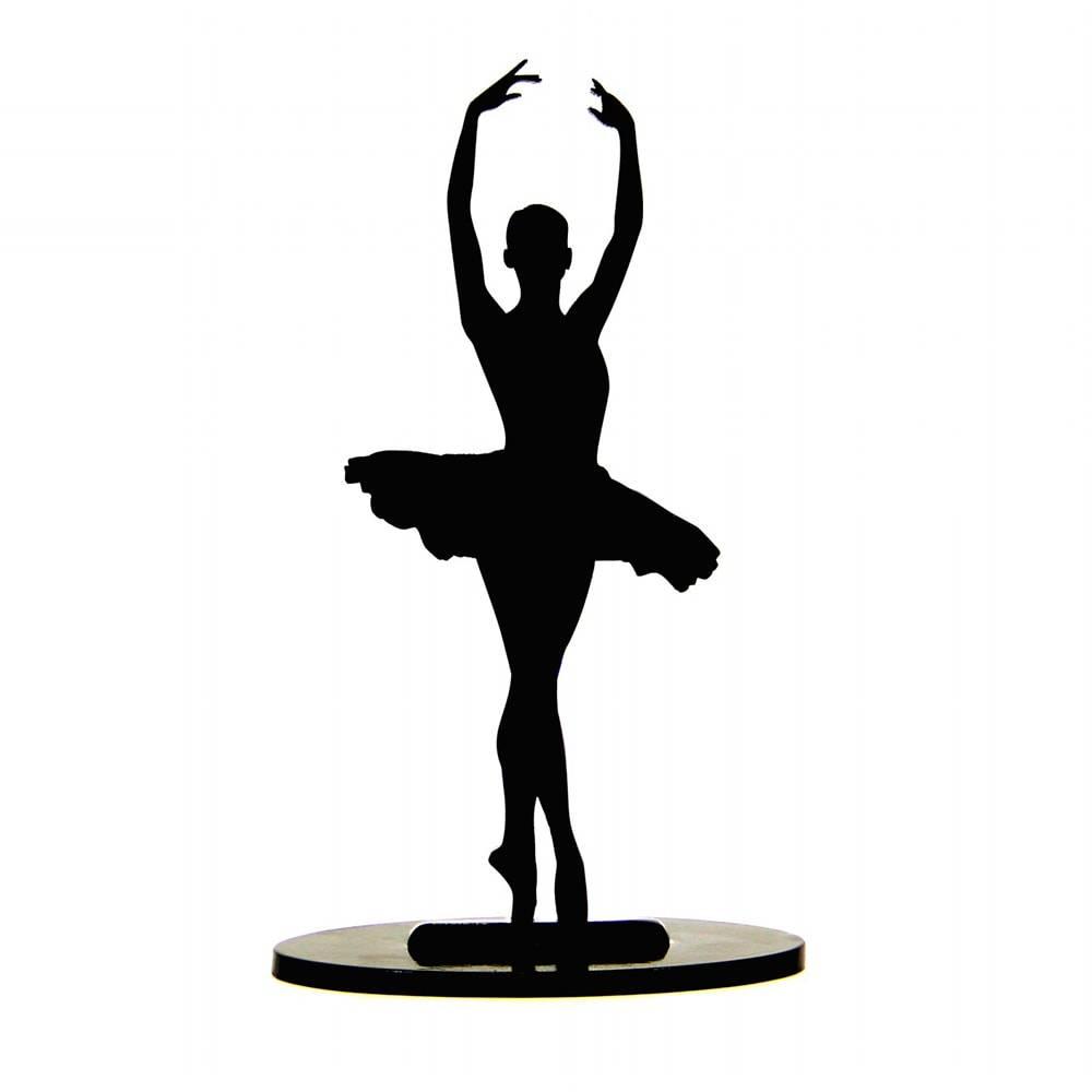 Bailarina Posição Port de Bras Preta em MDF Laqueado - Média - 33x14 cm