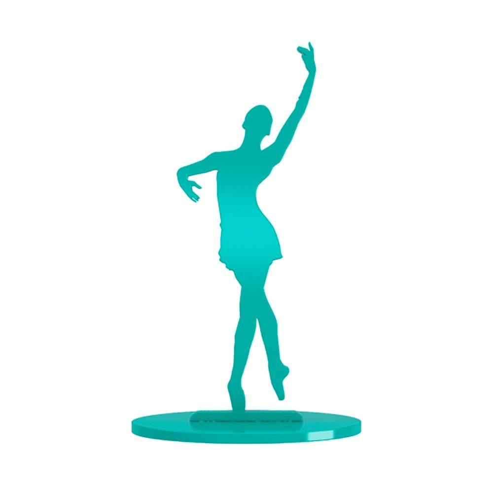 Bailarina Posição Quarta Cruzada com Passagem de Perna Tífany em MDF Laqueado - Pequena - 23x14 cm