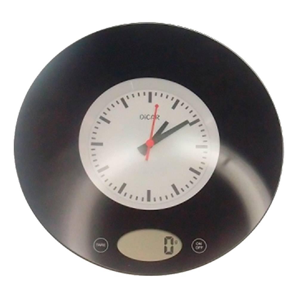 Balança de Cozinha Disco de Vinil em Vidro - 20x20 cm