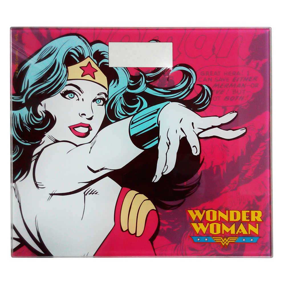 Balança DC Comics Wonder Woman Power Vermelha em Vidro - 150 kg - Urban - 30x26,5 cm