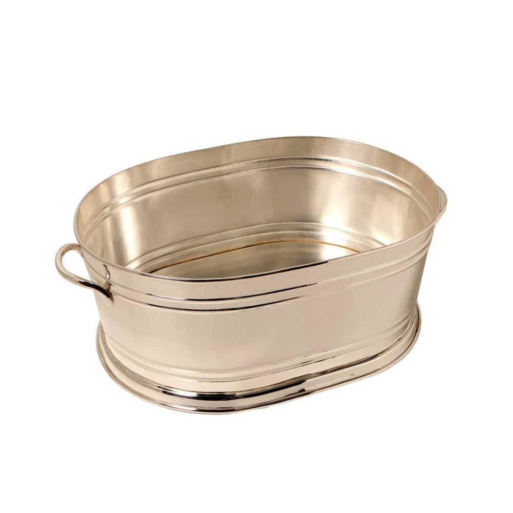 Balde para Bebidas Oval em Metal Banhado a Prata - 54x34 cm