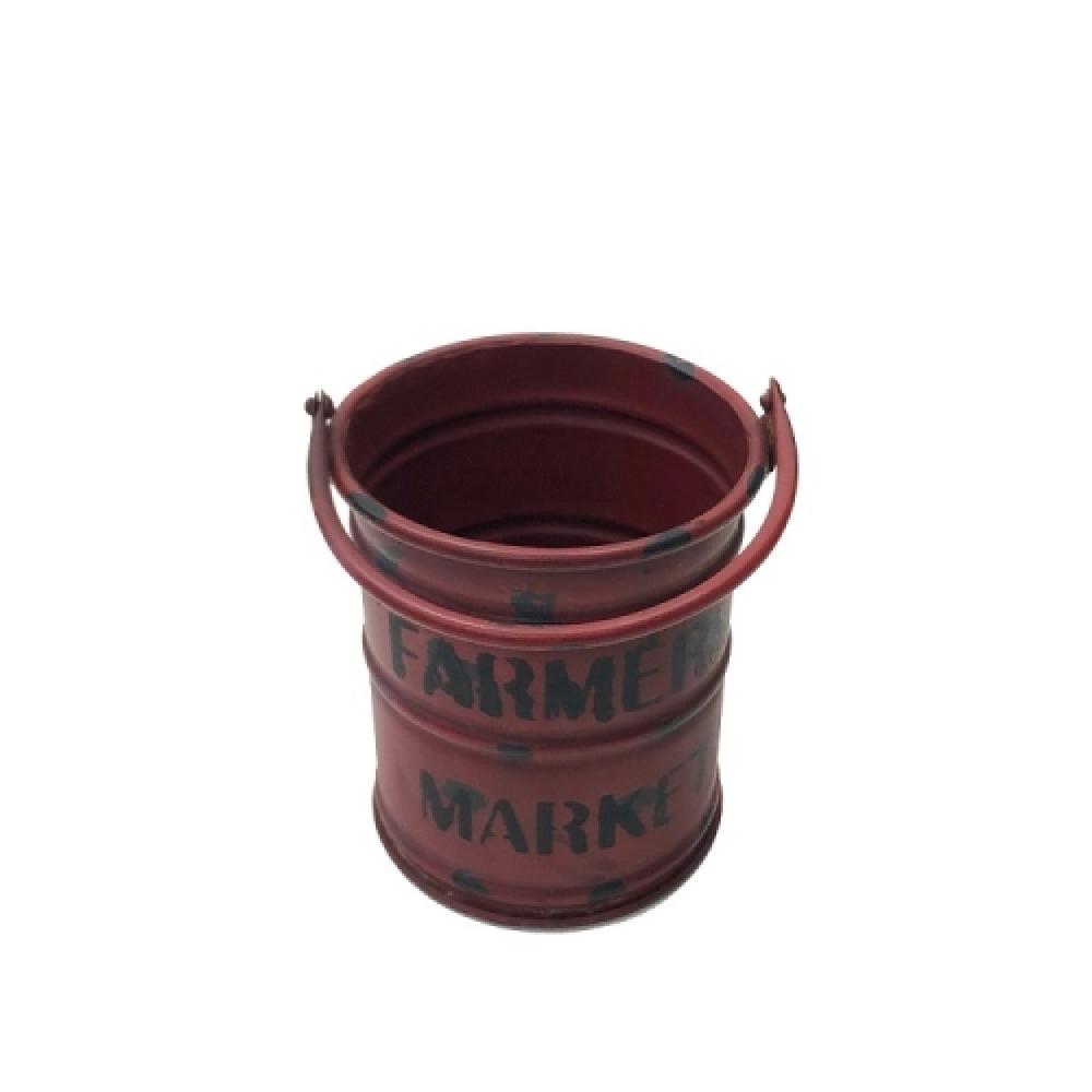 Balde decorativo de ferro vermelho