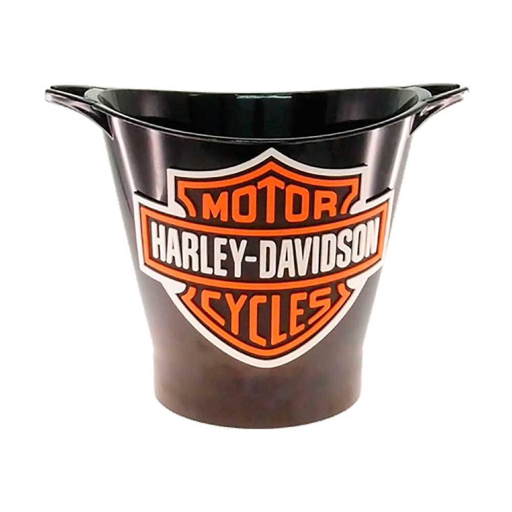 Balde para Gelo Estampa Harley Davidson Laranja com Fundo Preto - 29x23 cm