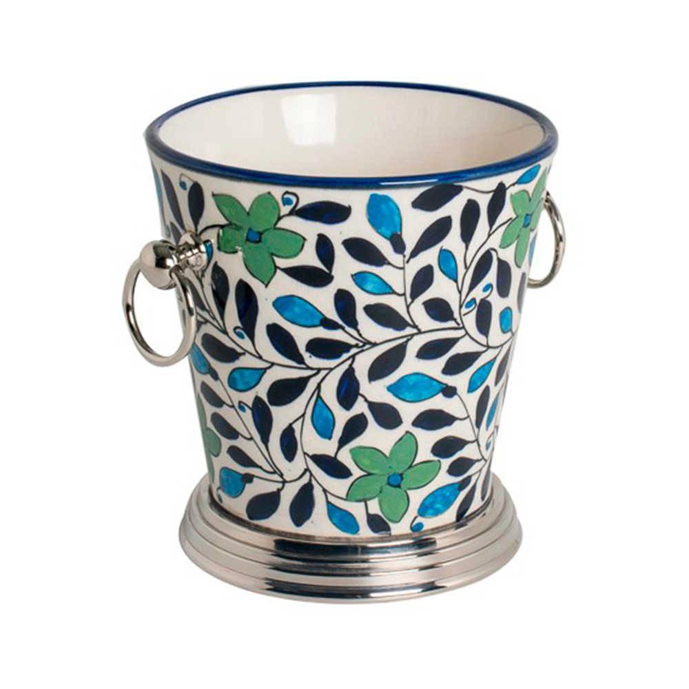 Balde de Gelo Form Azul e Verde - Pintado a Mão - em Aço Inox e Cerâmica - 19x18 cm