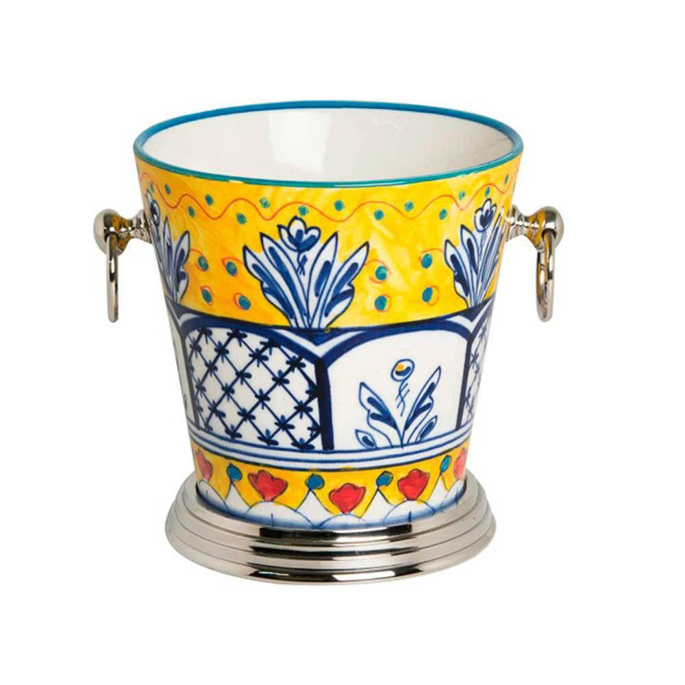 Balde para Gelo Fragose Amarelo Pintado à Mão em Aço Inox e Cerâmica - 19x18 cm