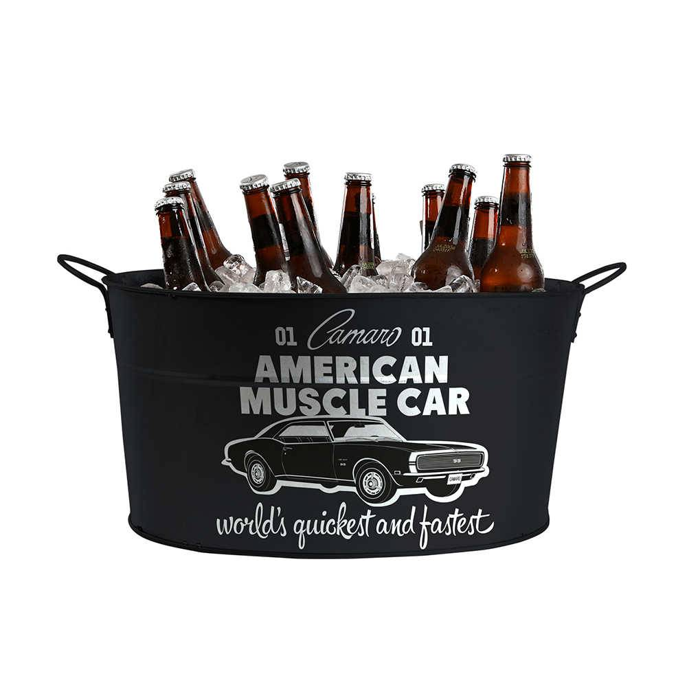 Balde para Gelo GM American Muscle Car Preto em Metal - Urban - 39x24 cm