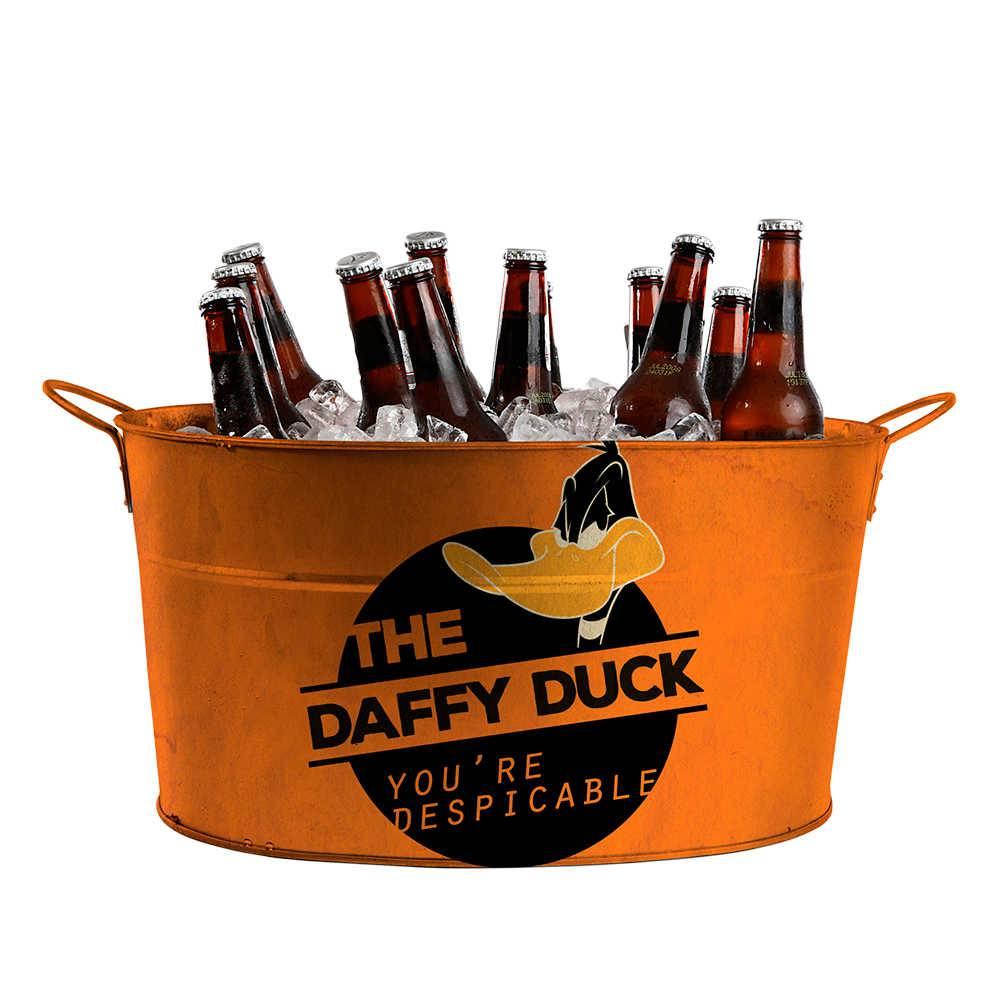 Balde para Gelo Looney Tunes Daffy Duck Despicable Laranja em Metal - Urban - 39x24 cm