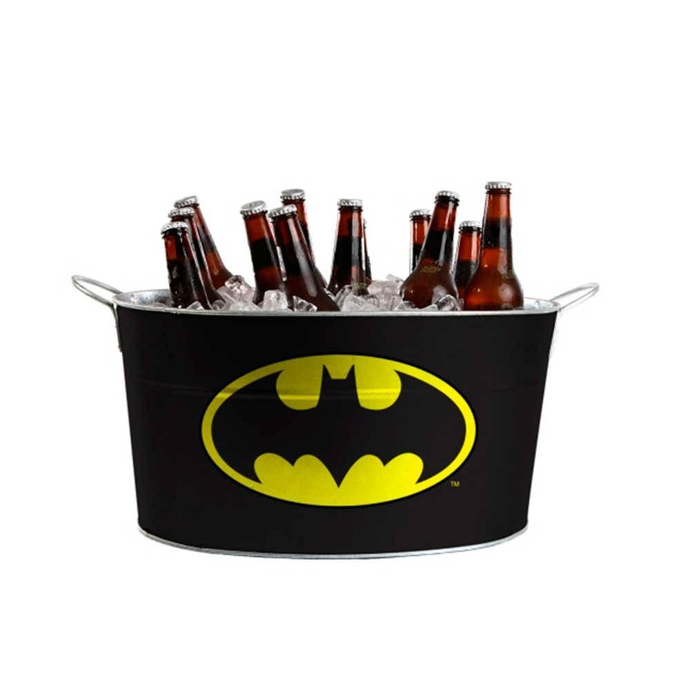 Balde para Gelo Oval DC Comics Batman Preto em Metal - Urban - 45x24 cm