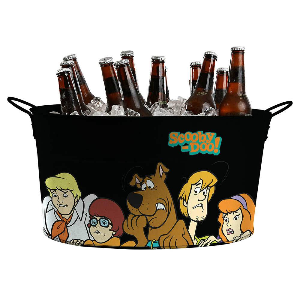 Balde para Gelo Oval Hanna Barbera Scooby Everybody Scared Fundo Preto em Metal - Urban - 39x24 cm