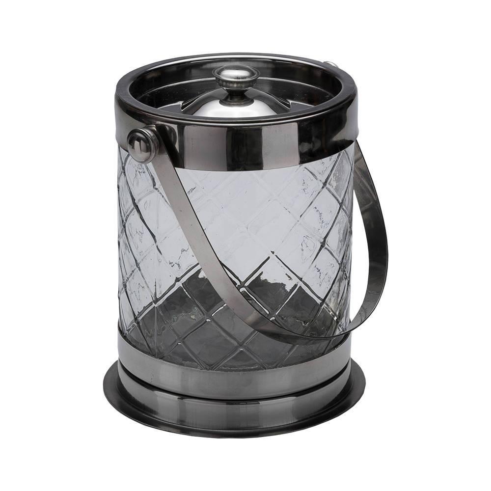 Balde para Gelo Transparente/Prata - em Vidro - Prestige