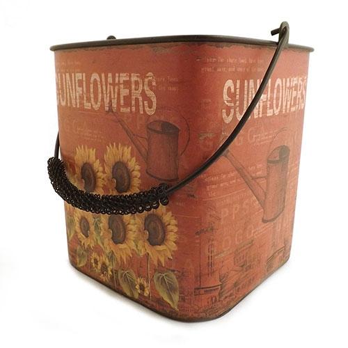 Balde Sunflowers Girassóis - Metal - Vermelho - 19x21 cm