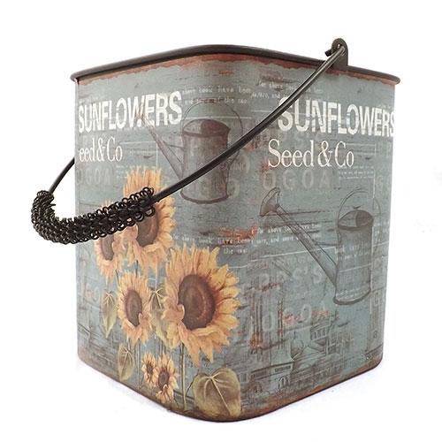 Balde Sunflowers Girassóis / Seed e Cool -  Metal - Azul - 19x20 cm