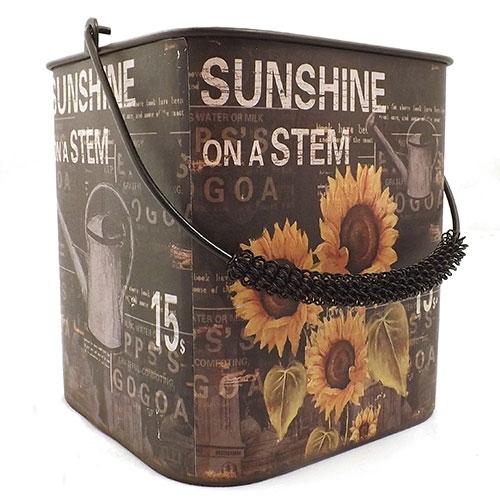 Balde Sunflowers Girassóis - Sunshine On a Stem - Metal -  Preto - 19X20 cm