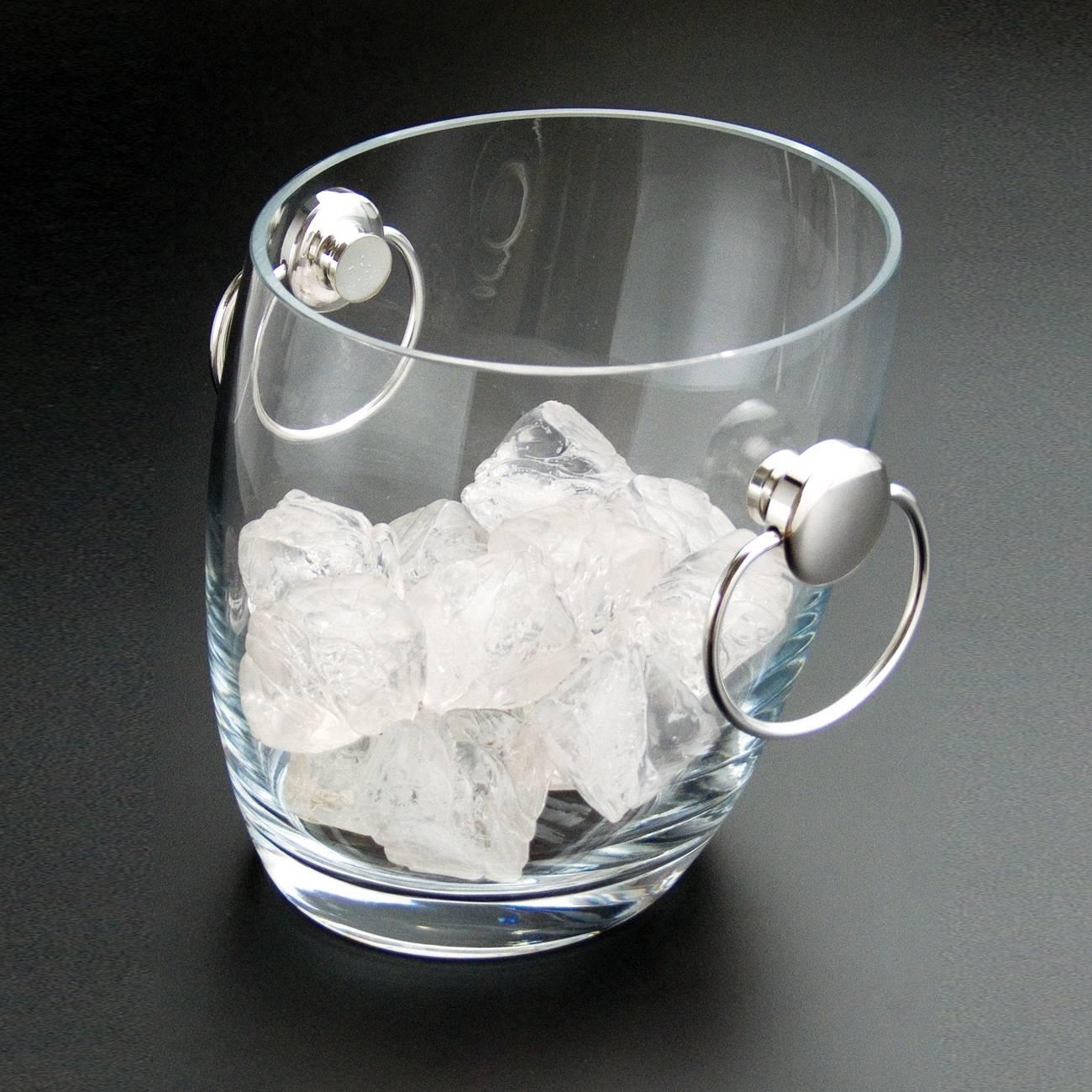 Balde para Gelo Iris Pequeno - com Alças em Prata - em Vidro - Wolff - 16x15 cm