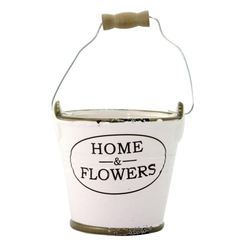 Baldinho Decorativo Home Flowers Branco em Cerâmica - 10x10 cm