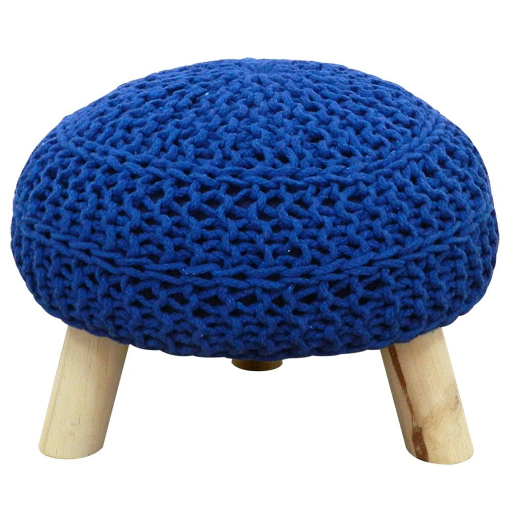 Banco com Assento em Croche Azul em Madeira - 36x25 cm