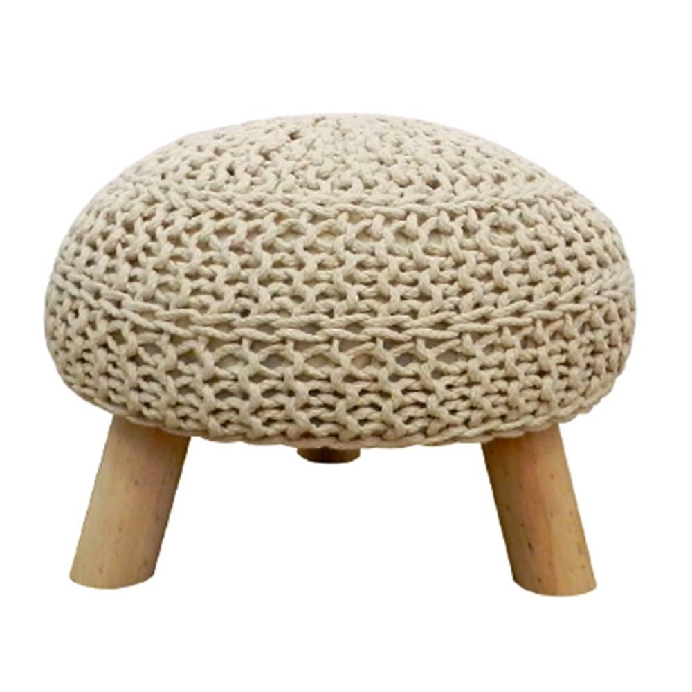Banco com Assento em Croche Bege em Madeira - 36x25 cm