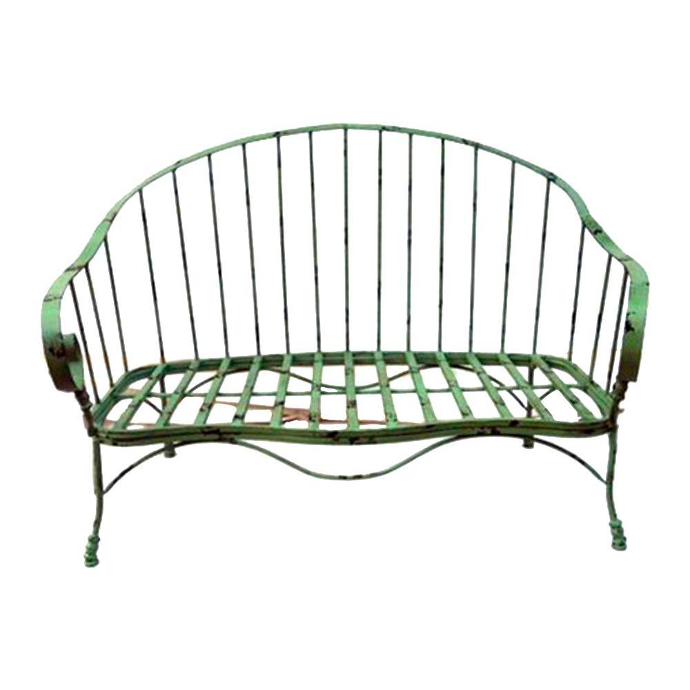 Banco Ever Antigo Verde c/ Efeito Desgastado Chic Estrutura em Ferro - 131x69 cm