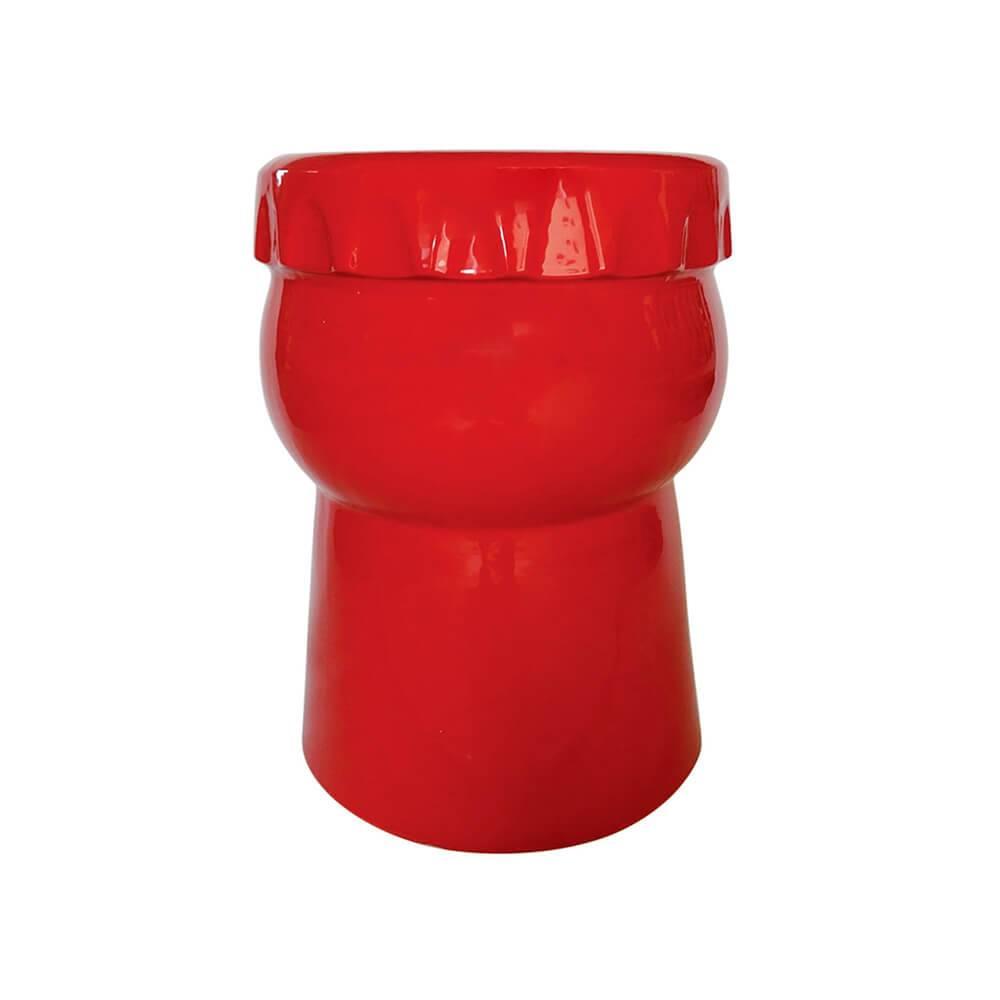 Banco Gargalo de Garrafa Vermelho em Cerâmica - Urban - 45x32 cm