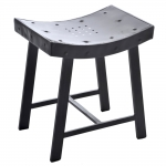 Banco Holes Preto em Metal - 42x29 cm