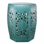 Banco de Jardim Azul em Cerâmica - 40,6x28 cm