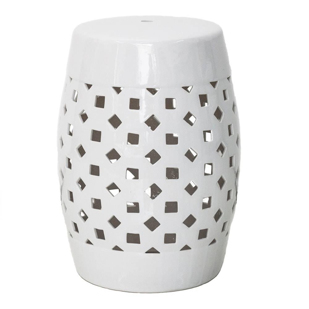 Banco de Jardim Geometric Branco em Cerâmica - 46x33 cm
