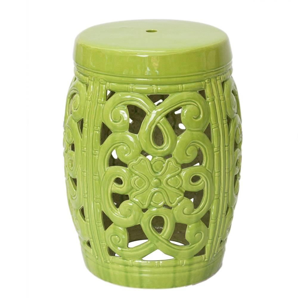 Banco de Jardim Meduza Verde Pequeno em Cerâmica - 46x33 cm