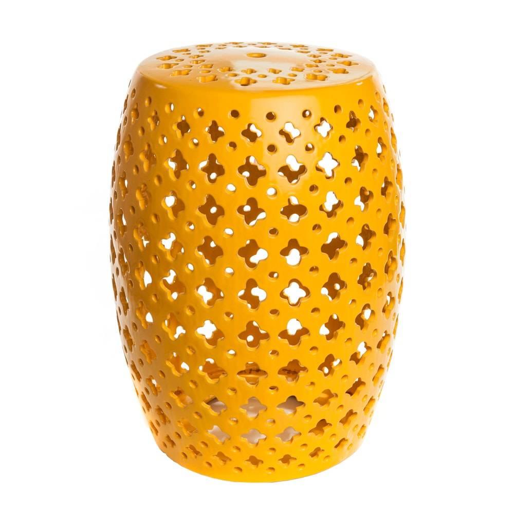 Banco de Jardim Pop Amarelo em Cerâmica - 46x33 cm