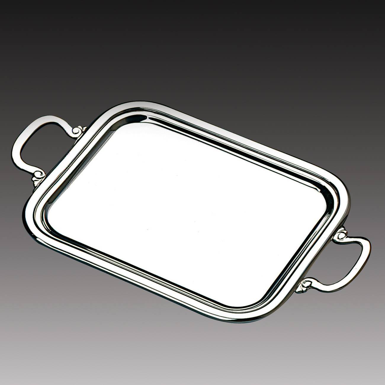 Bandeja Cordão Liso - com Alça - em Prata - Wolff - 26x20 cm