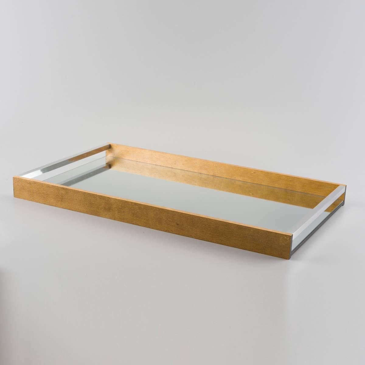 Bandeja Imbuia Grande - com Fundo Espelhado - em Madeira - Woodart - 60x35 cm