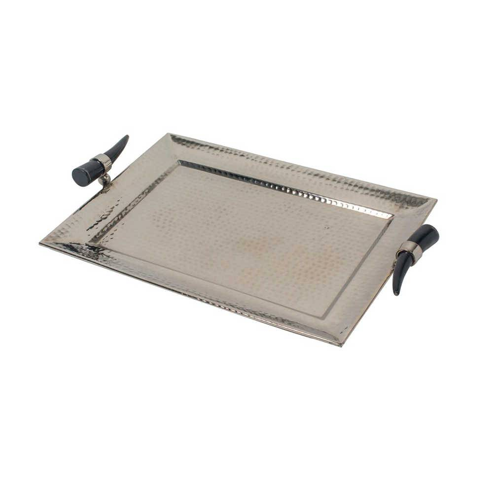 Bandeja Alon Prata em Metal com Alças de Chifre - 51x34 cm