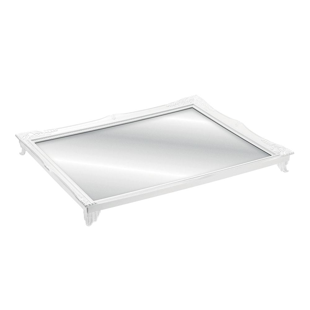 Bandeja Alta Gradient Branca com Fundo Espelhado - 25x20 cm